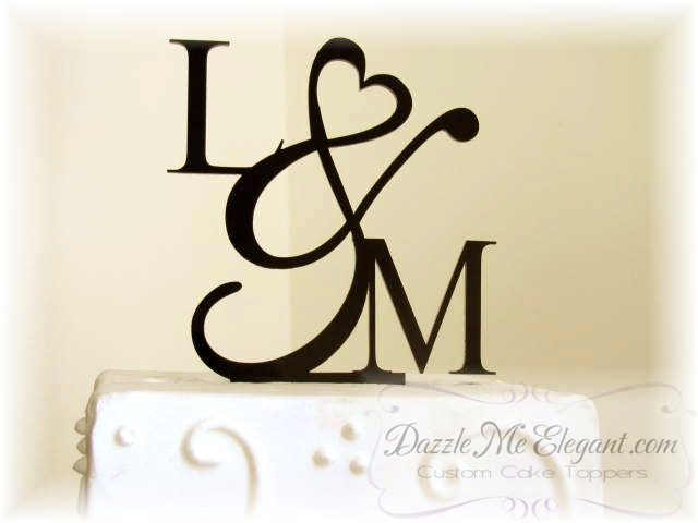 heart ampersand monogram wedding cake topper