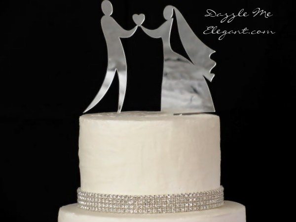 Holding Heart Bride and Groom Wedding Cake Topper