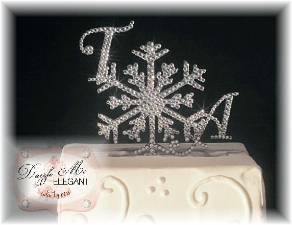 Snowflake Crystal Initial Cake Topper