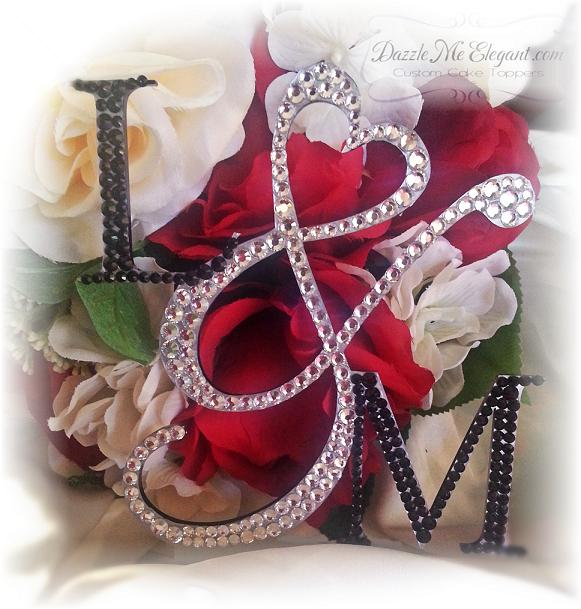 Crystal Heart Ampersand Monogram Wedding Cake Topper