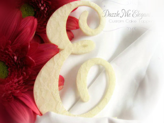 Lace Vintage Monogram Wedding Cake Topper