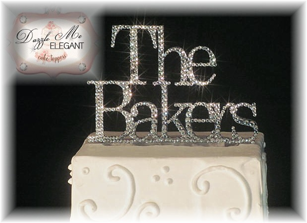 Last Name Crystal Rhinestone Wedding Cake Topper