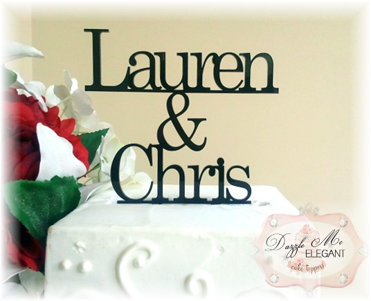 Bride & Groom Name Cake Topper-black cake topper, mr and mrs cake topper, name cake topper, wedding cake topper, bride and groom cake topper, black topper, bride and groom cake toppers, traditional cake topper, stylish cake topper, name cake topper, cake topper, personalized cake topper, personalize, bride and groom, wedding topper, custom cake topper