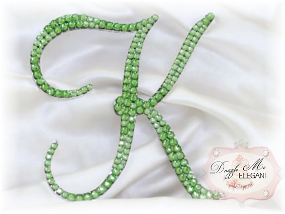 Light Green Crystal Cake Topper-green monogram cake topper, green monogram cake toppers, green cake topper, light green, cake, topper, light green wedding topper, green crystal cake topper, green crystal, light green crystal wedding cake topper, green crystal topper, green initial, light green letter, peridot
