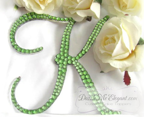 Light Green Crystal Rhinestone Wedding Cake Topper