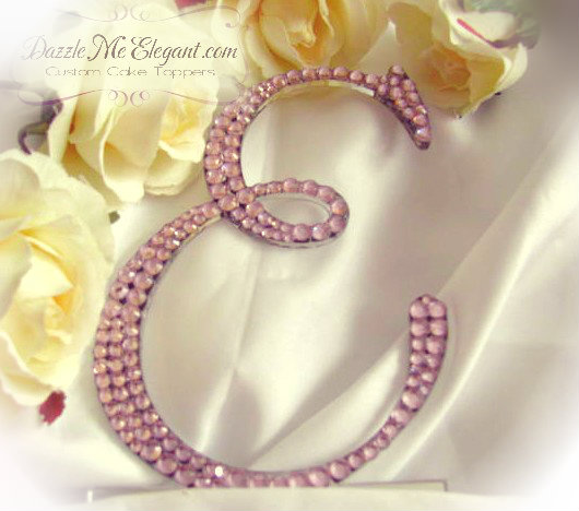 Light Pink Crystal Rhinestone Wedding Cake Topper