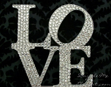 Crystal Rhinestone Love Wedding Cake Topper