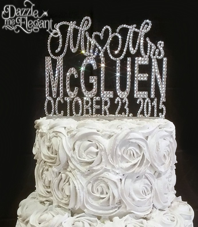 Mr & Mrs Crystal Rhinestone Name with Date Wedding Cake Topper