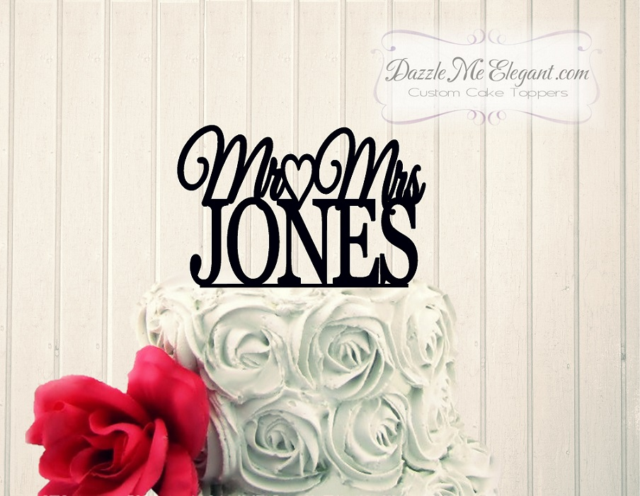 Mr and Mrs Heart Name Wedding Cake Topper