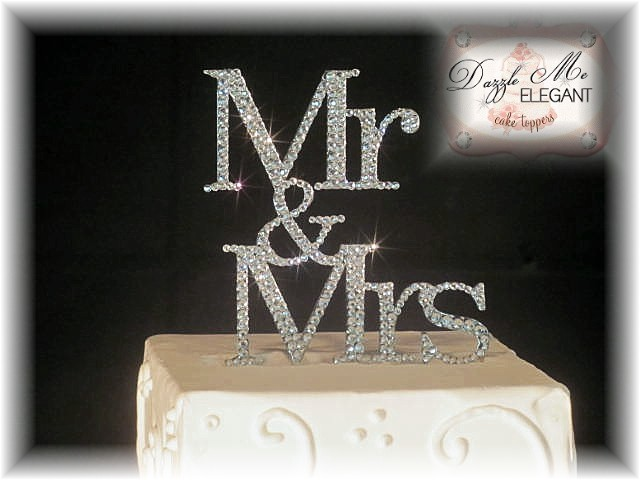 Mr & Mrs Crystal Rhinestone Wedding Cake Topper