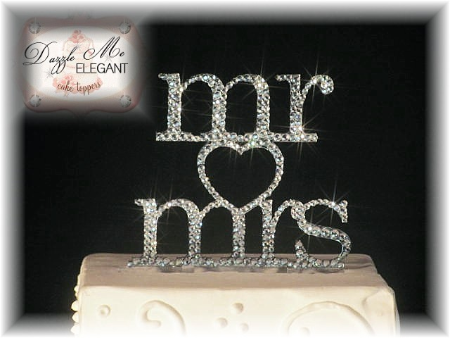Mr Mrs Heart Crystal Cake Topper-black cake topper, mr and mrs cake topper, wedding cake topper, bride and groom cake topper, black topper, bride and groom cake toppers, traditional cake topper, stylish cake topper