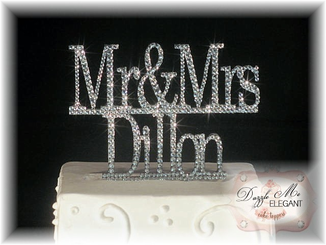 Mr & Mrs Name Crystal Cake Topper-black cake topper, mr and mrs cake topper, wedding cake topper, bride and groom cake topper, black topper, bride and groom cake toppers, traditional cake topper, stylish cake topper, name cake topper, cake topper, personalized cake topper, personalize, bride and groom, wedding topper, custom cake topper
