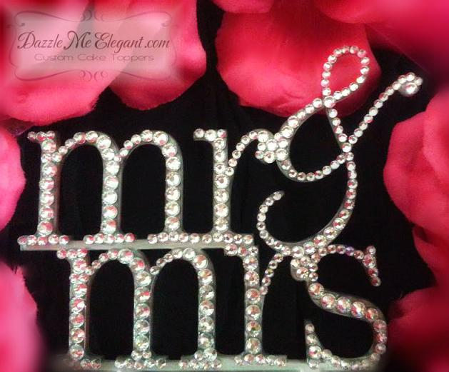 Mr & Mrs Crystal Rhinestone Wedding Cake Topper 2