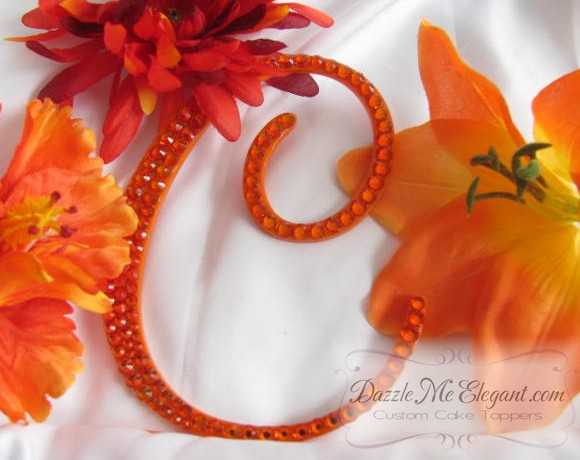 Orange Crystal Rhinestone Wedding Cake Topper
