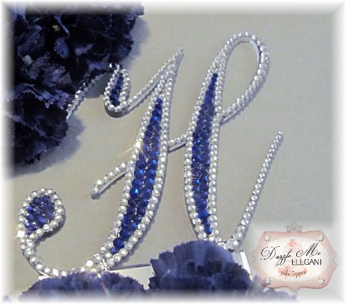 Outlined Elegance Full Cake Topper-monogram, cake, topper, fully decorated, crystal, initial, crystal cake topper, dazzle monogram, sparkle monogram, bordered monogram