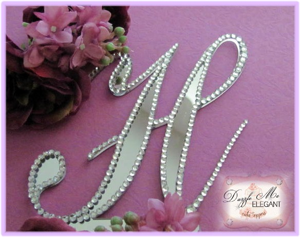 Outlined Elegance Partial Cake Topper-monogram, cake, topper, fully decorated, crystal, initial, crystal cake topper, dazzle monogram, sparkle monogram, bordered monogram