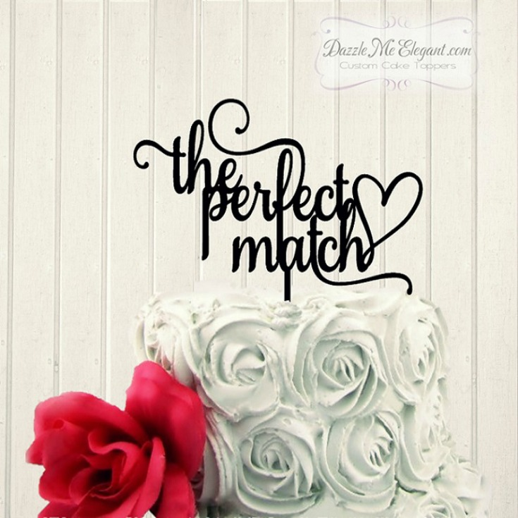The Perfect Match Wedding Cake Topper