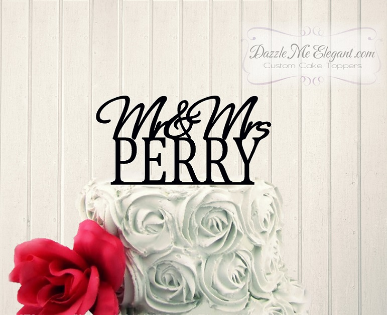 Mr & Mrs Name Cake Topper 2