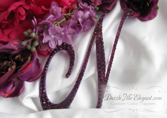 Purple Crystal Rhinestone Wedding Cake Topper
