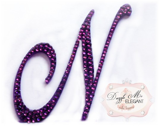 Purple Crystal Cake Topper-purple monogram cake topper, purple monogram cake toppers, purple cake topper, purple, cake, topper, purple wedding topper, purple crystal cake topper, purple crystal, purple crystal wedding cake topper, purple crystal topper, purple initial, purple letter