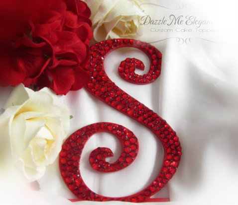 Red Crystal Rhinestone Wedding Cake Topper