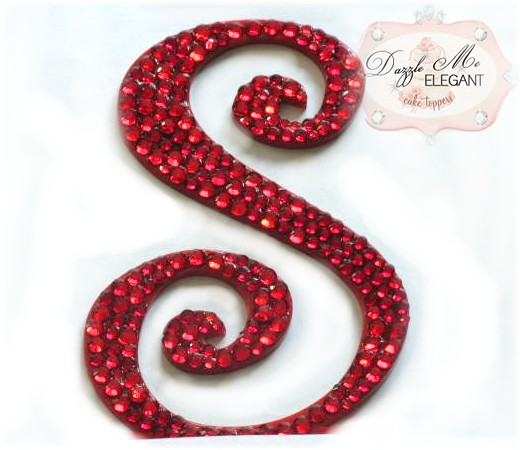 Red Crystal Cake Topper-red monogram cake topper, red monogram cake toppers, red cake topper, red, cake, topper, red wedding topper, red crystal cake topper, red crystal, red crystal wedding cake topper, red crystal topper, red initial