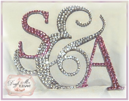 Triple Ampersand Crystal Cake Topper-triple, monogram, crystal,cake, topper, crystal cake topper, ampersand cake topper, couples cake topper