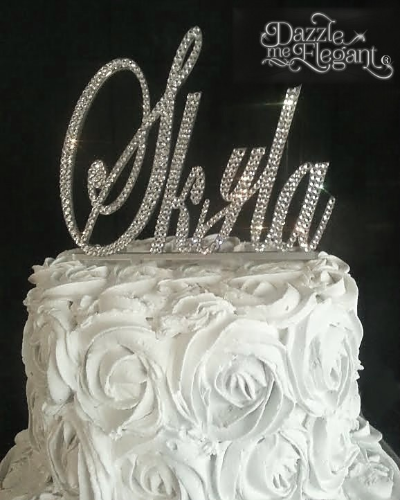 Name Crystal Rhinestone Birthday Wedding Cake Topper