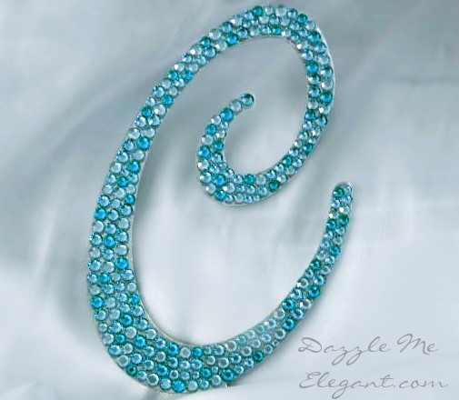 Tiffany Blue Crystal Rhinestone Wedding Cake Topper