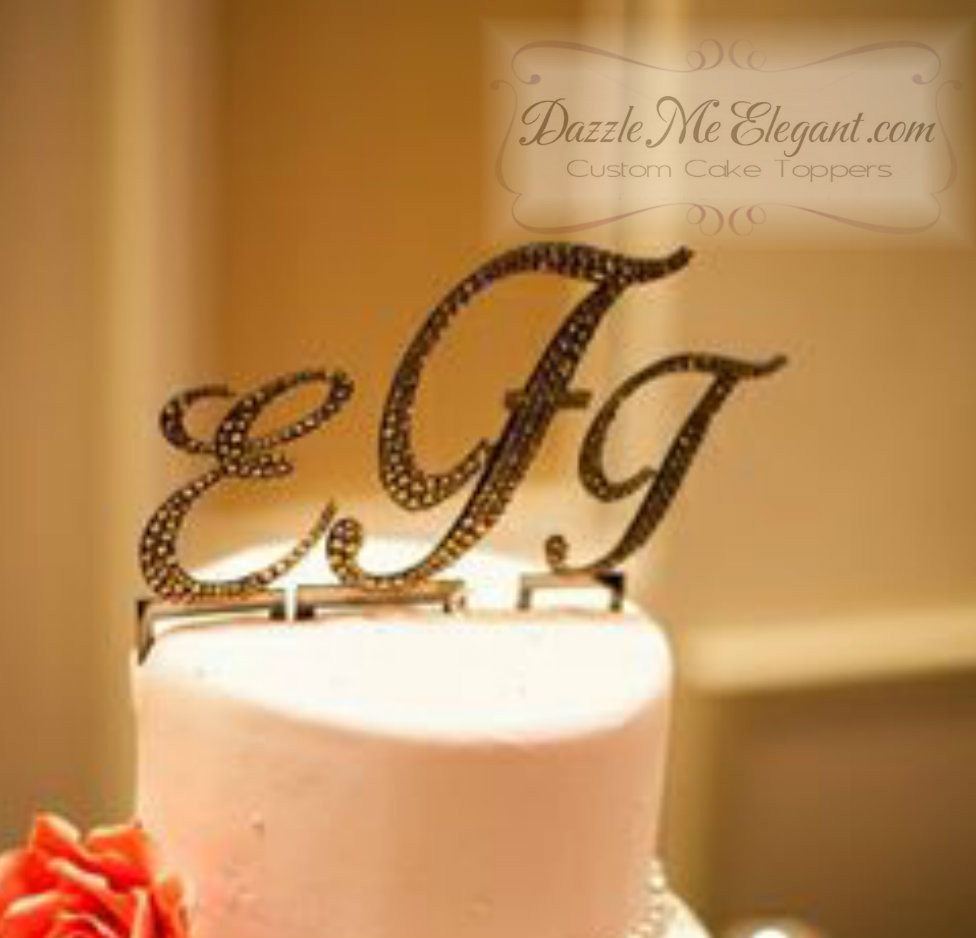 Triple Traditional Monogram Crystal Rhinestone Wedding Cake Topper