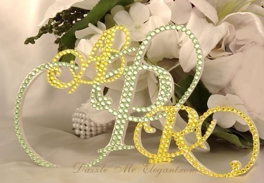 Triple Contemporary Monogram Cake Topper