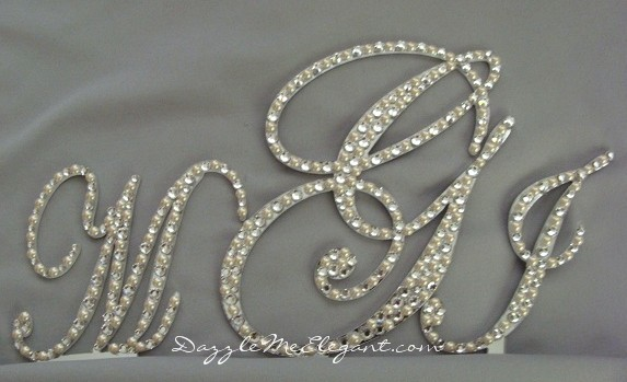 Crystal and Pearl Triple Monogram Wedding Cake Topper