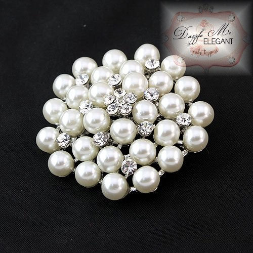 Crystal and Pearl Brooch White Pearl