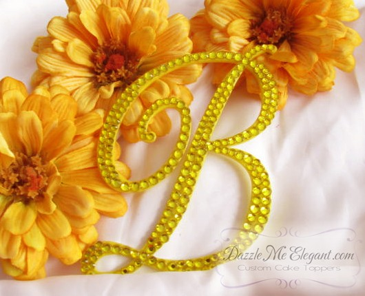 Yellow Crystal Rhinestone Wedding Cake Topper
