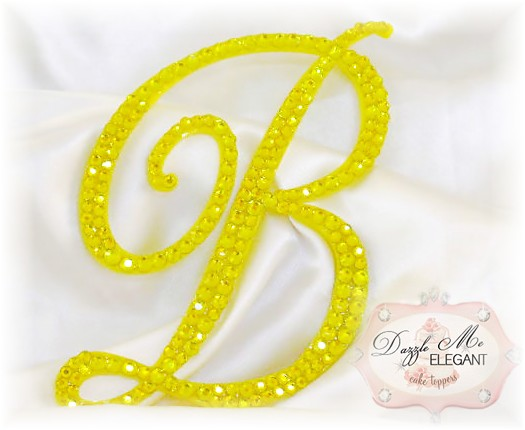 Yellow Crystal Cake Topper-yello monogram cake topper, yellow monogram cake toppers, yellow cake topper, yellow, cake, topper, yellow wedding topper, yellow crystal cake topper, yellow crystal, yellow crystal wedding cake topper, yellow crystal topper, yellow initial, yellow letter