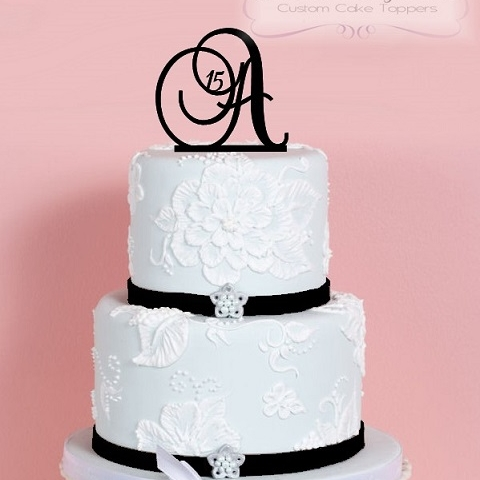 Monogram Birthday Cake Topper With Number - Monogram birthday cakes