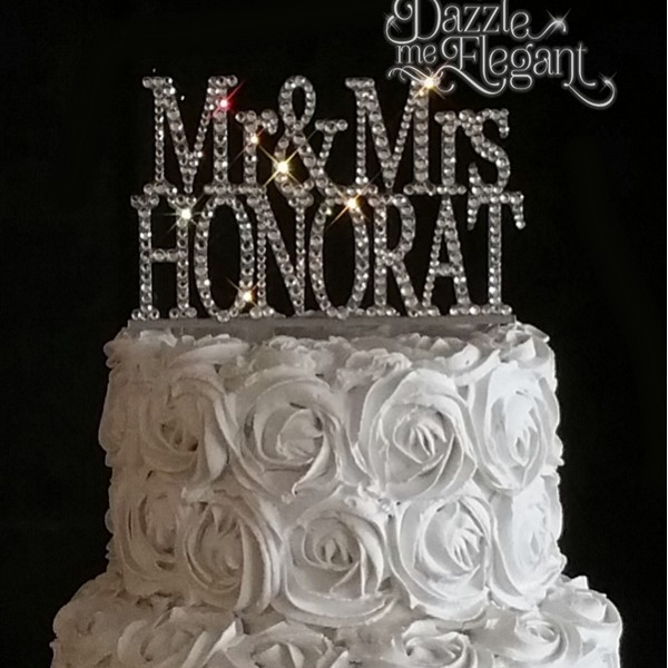 Monogram Crystal Cake Toppers Affordable Wedding Cake