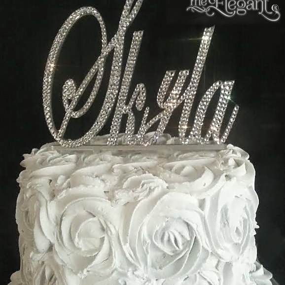 monogram crystal cake toppers